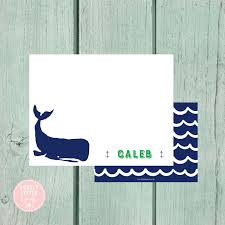 personalized notecards whale stationery kids stationery nautical personalized notecards