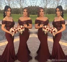 cheap burgundy sequins off shoulder long bridesmaid dresses short