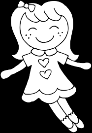 cute dolly coloring page free clip art