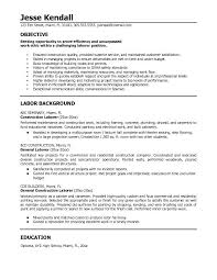 Example Work Resume by Construction Worker Resume 3 Construction Labor Resume Sample