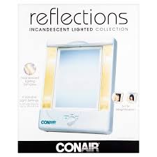 conair lighted vanity mirror two sided lighted makeup mirror with 4 light settings and 3 panels