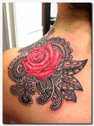 rosetattoo shoulder for girly skull