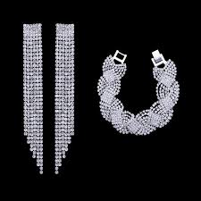 bridal earring necklace sets images Bbsv crystal bridal earrings and bracelet jewelry sets blushing jpg