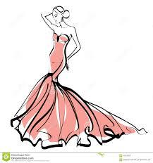 fashion illustration sketch elegant lady stock illustration