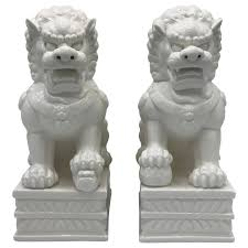 foo dogs statues 1960s large blanc de chine foo dog statues pair for sale at 1stdibs