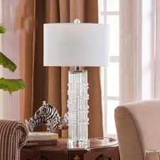 Blue Glass Table Lamp Modern Blue Glass Table Lamp Bedside Crystak Base Lamp Living Room