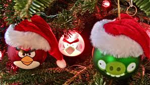 christmas tree with angry birds plushes lights and ornaments and