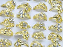 fashion golden rings images Jewelry lots mix 10pcs cubic zirconia classic golden rings jewelry jpg