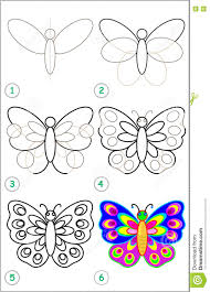 page shows how to learn by to draw a butterfly stock