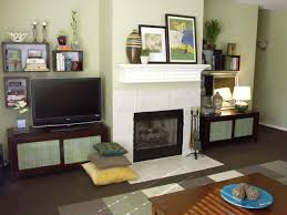 wooden tv stand featuring varnished wood floating shelf and white