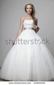 white and grey wedding dress beautiful smiling white wedding dress stock photo 115854034