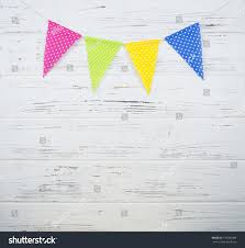 Green White And Yellow Flag Garland Yellow Pink Green Blue Flags Stock Photo 716380084