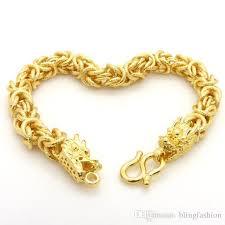 dragon bracelet gold images 2018 mens bracelet dragon head patterned solid 18k gold filled jpg