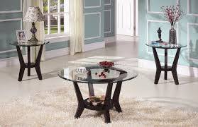 brown cherry coffee table u0026 end tables 3pc set w clear glass top