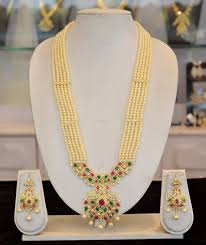 long pearl necklace set images Traditional pearl long haram design south india jewels jpg