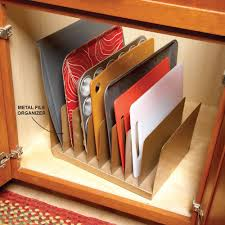 why didn t i think of that kitchen cabinet organizers shelf a metal file organizer is perfect for storing baking sheets cutting boards and pan lids