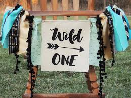 wild ones native plants wild one birthday banner any saying any color theme turquoise