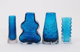 Whitefriars Glass Vase A Whitefriars Kingfisher Blue Glass Cello Vase Designed By