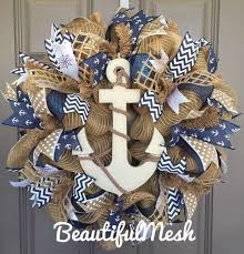 anchor nautical burlap deco mesh wreath with navy wreaths