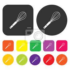 icone cuisine fouetter icône symbole de cuisine ronde et rectangle coloré