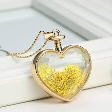 crystal glass pendant necklace images Heart flower specimens pendant necklace alloy transparent glass jpg
