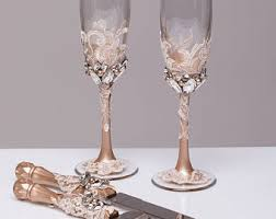 wedding glasses gold wedding glasses and cake server set cake knife