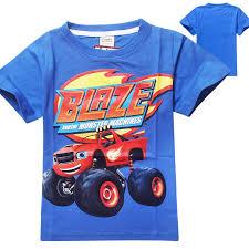 blaze monster machines clothing children shirts fit 2015 summer