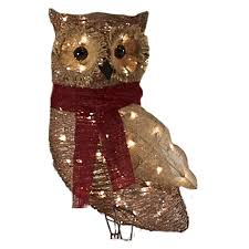Lowes Outside Christmas Decorations by Shop Holiday Living Pre Lit Owl Sculpture With Constant Clear