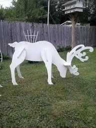 Marvelous Wooden Reindeer Yard Decoration Outdoor White Reindeer