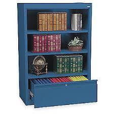 Cabinet And Bookshelf Atlantic Metal Bookcase Drawer Cabinet 3 Shelf Blue 3ctn3