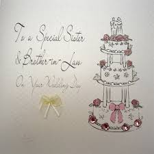 Congratulations On Your Wedding Day White Cotton Cards Bd26 To A Special Sister And Brother In Law