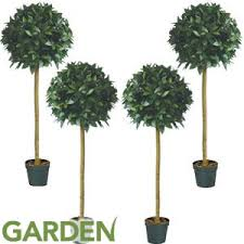 buy artificial tree 4ft laurel set of 4 at home bargains