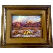 dee lefevre oil painting on canvas board landscape signed by colorado artist vintage 1960 s with original wood frame canvas board