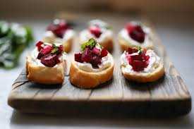 goats cheese canape recipes beet bruschetta with goat cheese and basil feasting at home