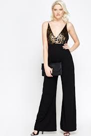 black and gold jumpsuit plunge wide leg jumpsuit just 5
