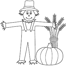 fall coloring page for kids of a scarecrow scarecrow with a wheat