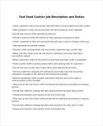 Cashier Job Description Resume by Best Fast Food Cashier Job Description Template Pictures Best
