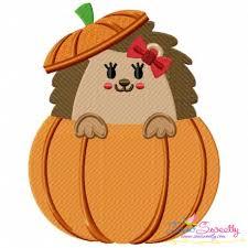 hedgehog peeking pumpkin machine embroidery design for thanksgiving