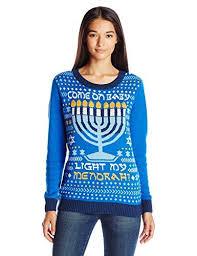 light up hanukkah sweater ugly christmas sweater womens lightup light my menorah ocean blue l