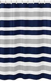 Stripe Shower Curtains Amazon Com Sweet Jojo Designs Navy Blue Gray And White Kids