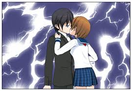 mai sneaks a kiss by merei the dark one on deviantart