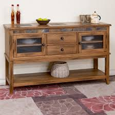 rustic oak server w 2 drawers and slate tile by sunny designs