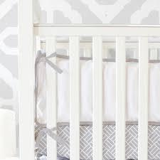 Plain Crib Bedding Light Gray White Crib Bumpers Caden