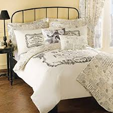 Shabby Chic Bed Linen Uk by Shabby French Chic Cream Paris Bed Linen Set Double Amazon Co