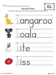 say and trace letter k beginning sound words worksheet color