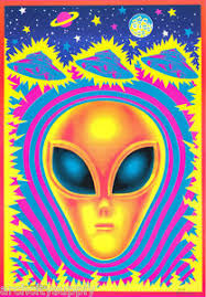 free black light posters lot of 2 posters art alien black light free shipping bl10