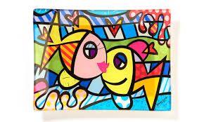 romero britto britto rectangular glass plate deeply in love artreco