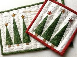 the three christmas trees mug rug and coaster christmas tree