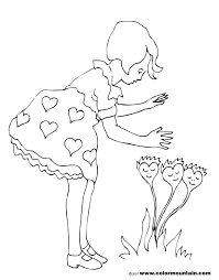 valentines heart flower coloring sheet create a printout or activity