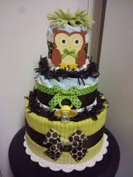 owl 3 tier diaper cake forest theme baby shower decoration